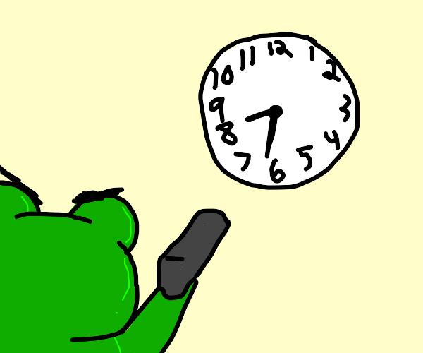 frog angry at a clock