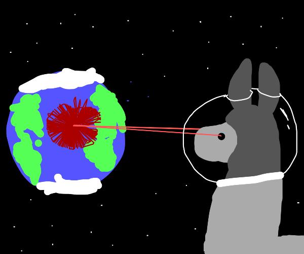 space llama with laser eyes destroys earth