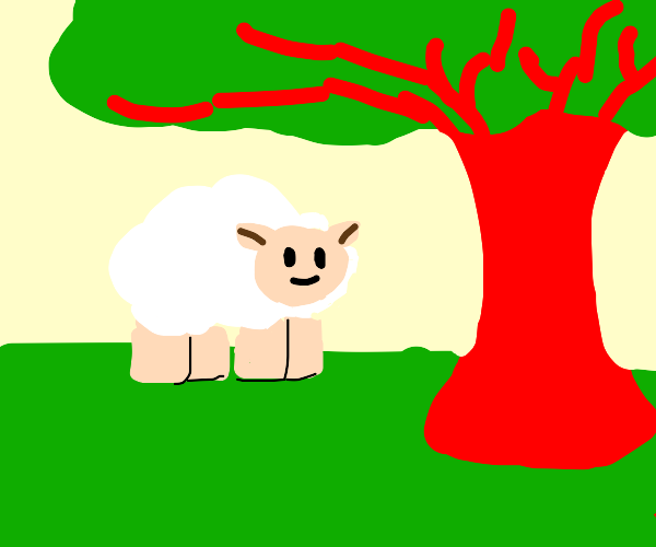sheep in front of a red tree