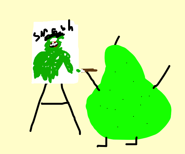 A pear painting the hulk while stretching