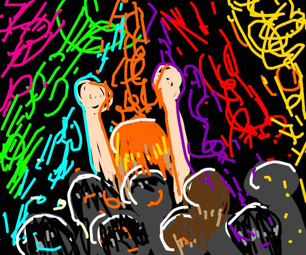 A woman with crazy orange hair at a rave.