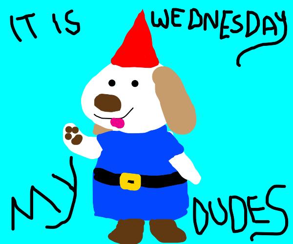 Puppy gnome celebrates hump day
