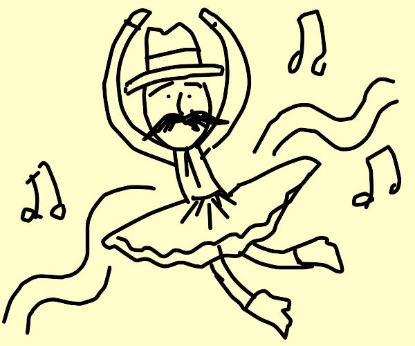 Mustachioed cowboy does ballet.