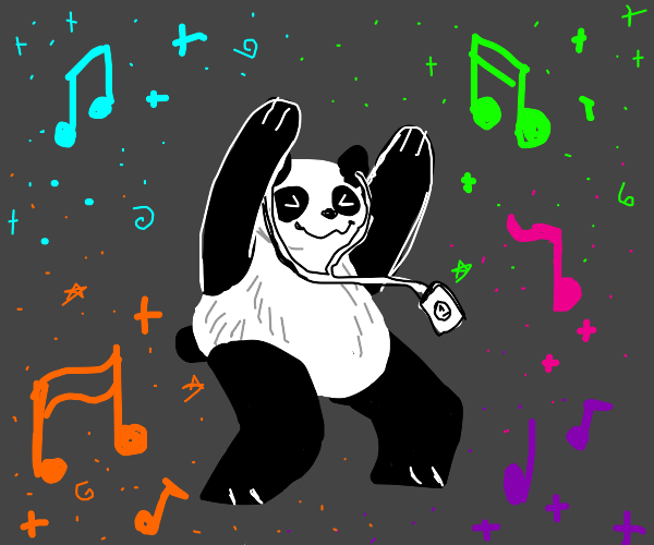 a panda rocking out to his ipod