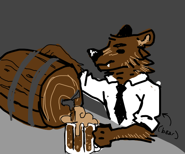 a bear bartender pouring a root beer
