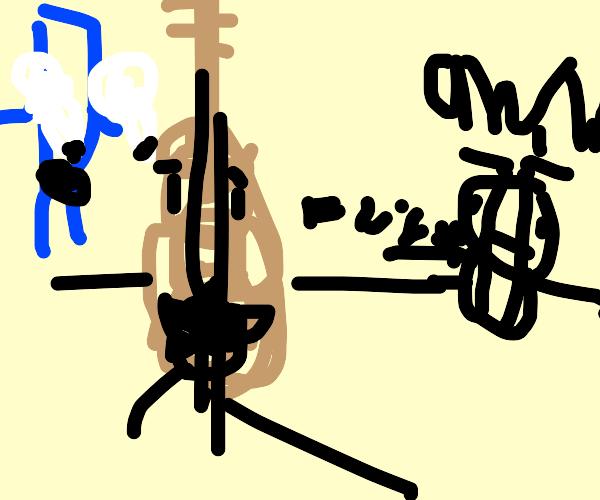 guitar playing a human