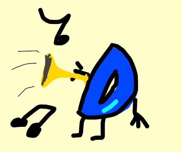 Drawception D tooting a horn