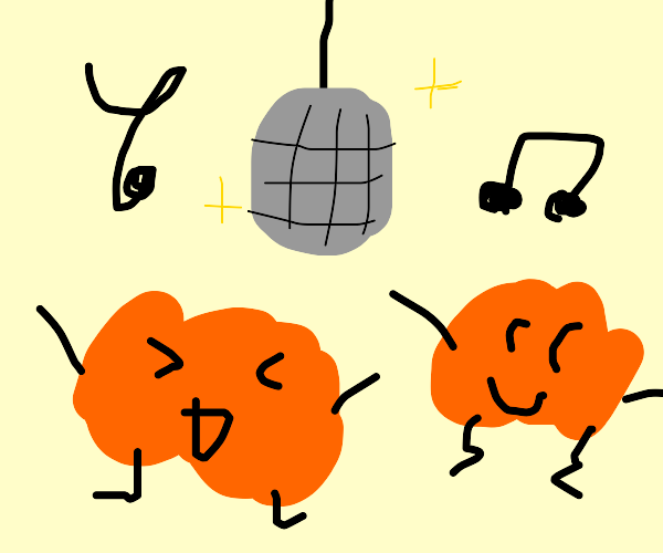 orange blobs groove to music