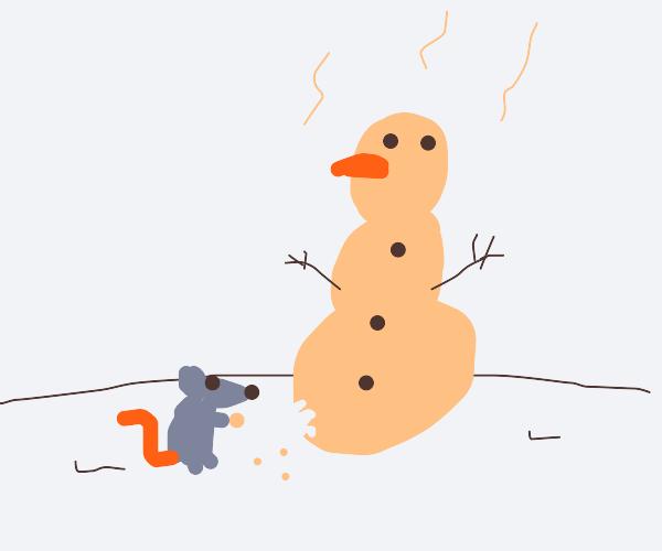 Rat eating cheese snowman