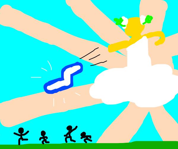 Zeus throwing thunder at puny mortals