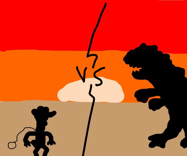 Woody Vs Godzilla at Sun Down