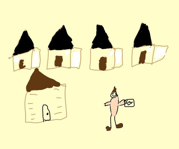 One rich tiki hut owner in a villiage