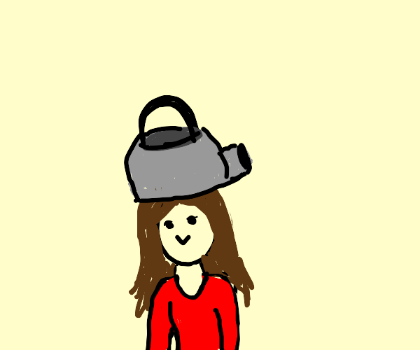 Lady with kettle on her head