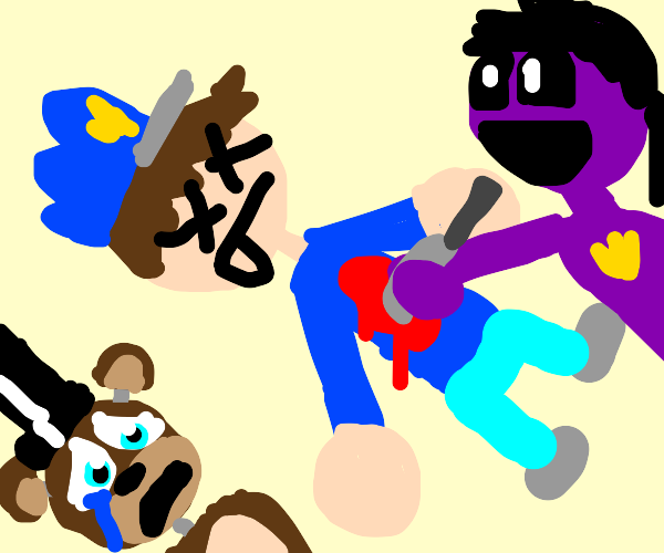 a dead police man being helped by a purpleman