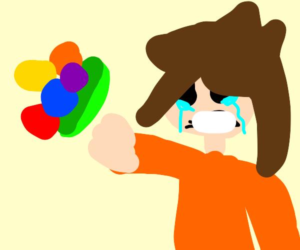 sad kid throwing a bowl of veggies