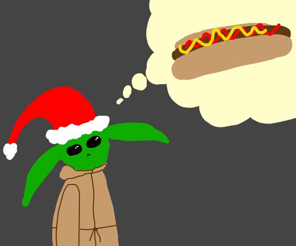 yoda-santa thinks about a hotdog