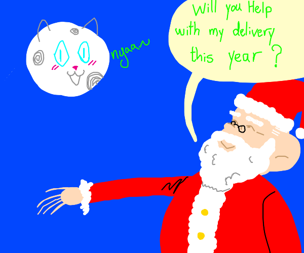 Santa talking to a moon cat