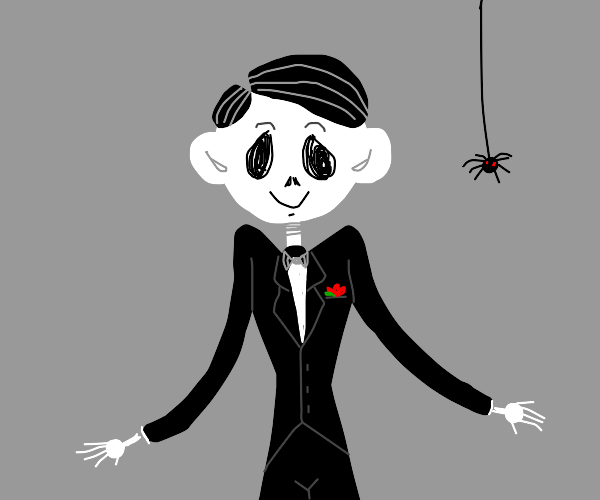 a spooky black and white boy. fancy suit too.