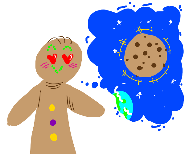 Gingerbread man loves giant cookie in space