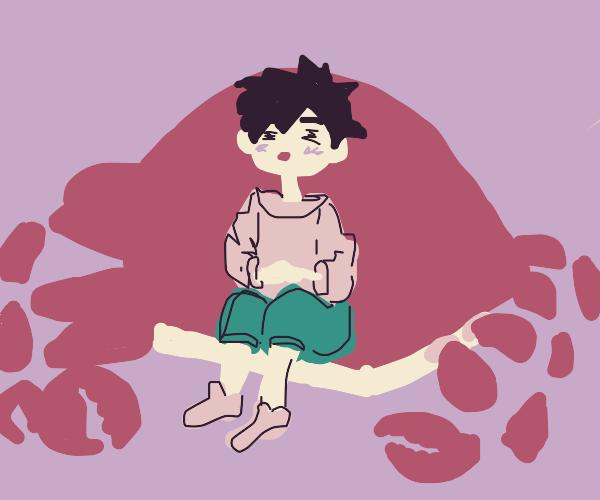 eating a big crab
