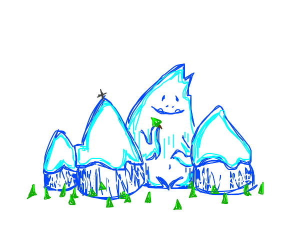 mountain with yeti