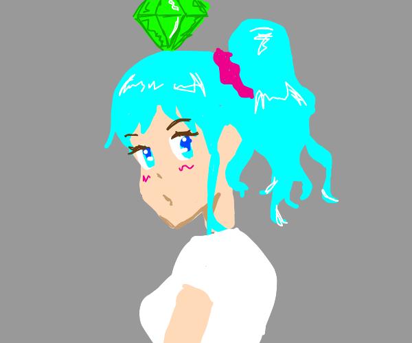 Blue anime girl w/ sims gem above head.