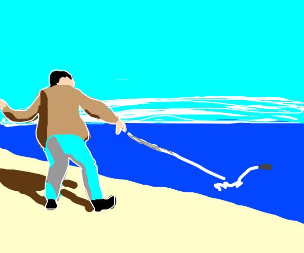 Guy skims stones on a lake
