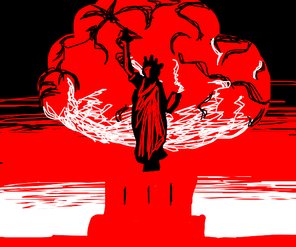 Red Statue of Liberty enacts the nukes
