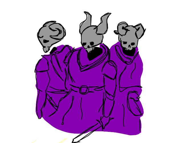 The cult of purple-shirted gray men