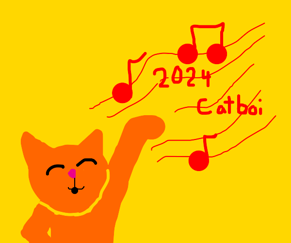 Furry cat has a red sing that says 2024catboi