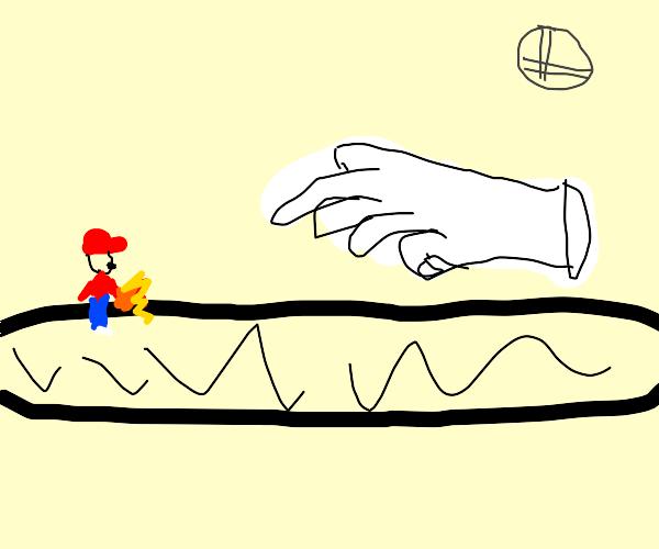 Mario fights Master Hand in Final Destination