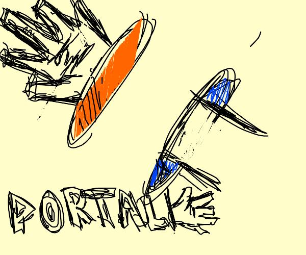 hand through blue portal exits through orange
