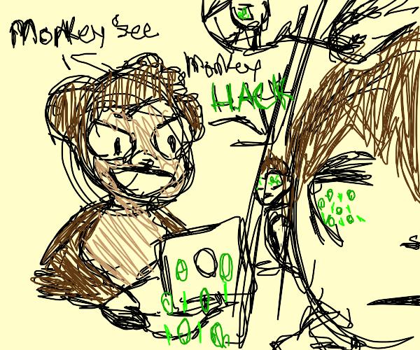 monkey hacking a man