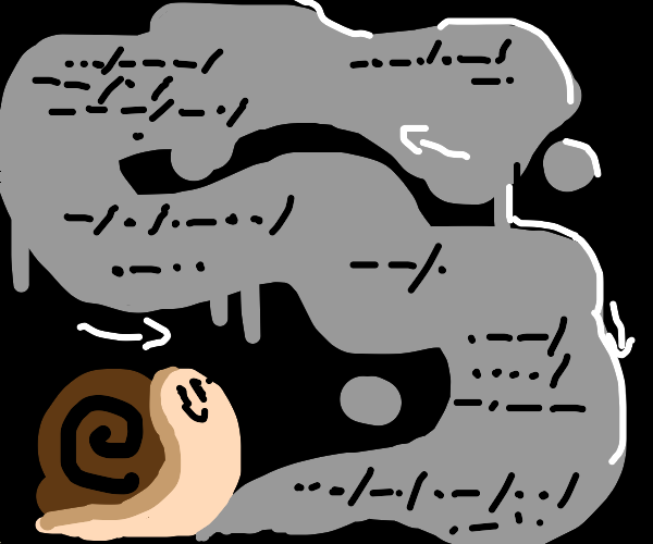 A snail leaving a trail of Morse code.
