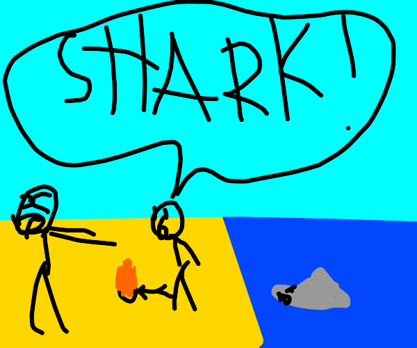 Jaws, Man with head on fire, beach, dying
