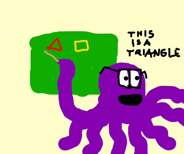 Octopus teaching yellow square and a triangle