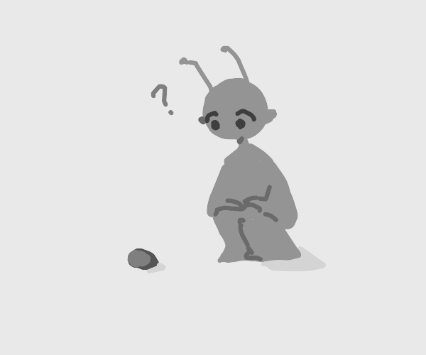 Alien curious of rock
