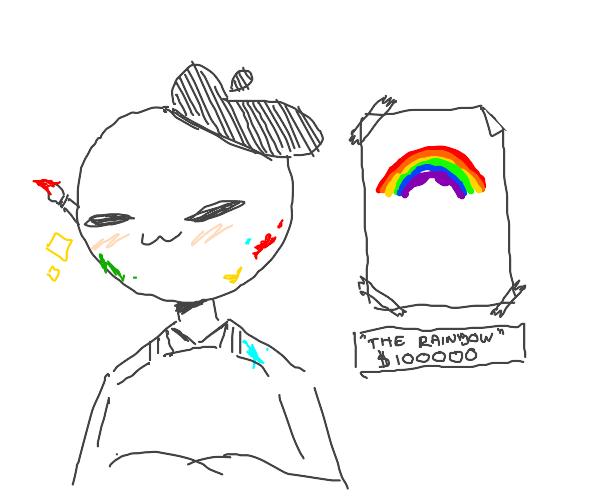 artist painting a rainbow