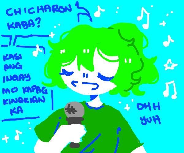 Green haired girl singing