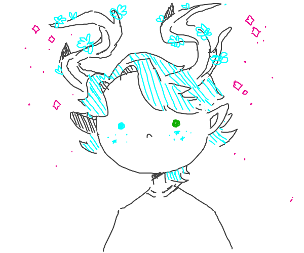 guy with one blue eye, one green, and horns