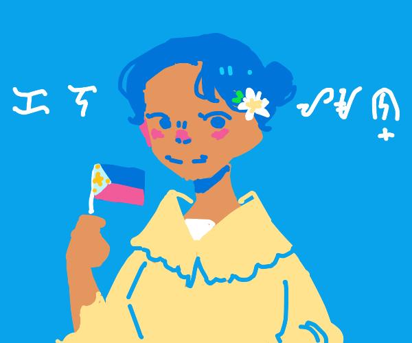 Filipino girl holding small Philippines flag