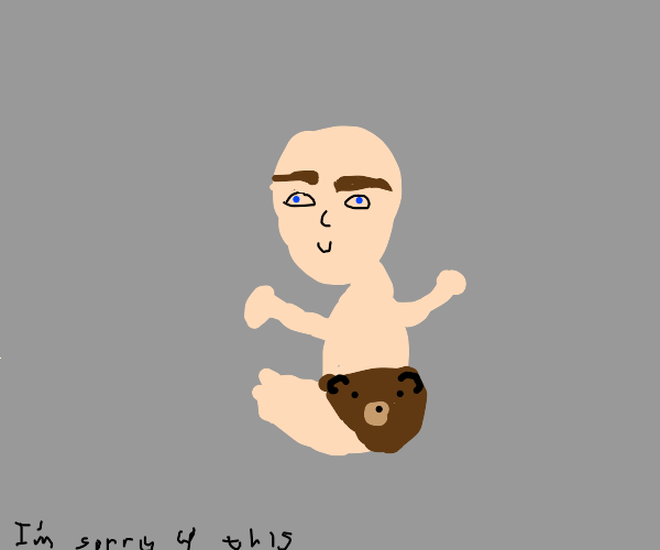 baby with thick af eyebrows and bear diaper
