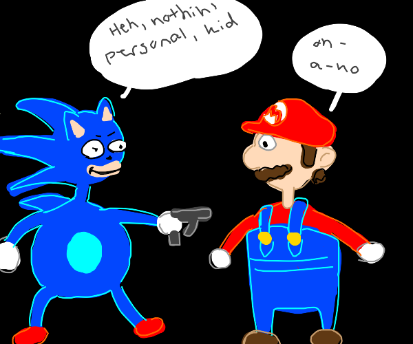 Sonic pulls out a glock on Mario; smiles
