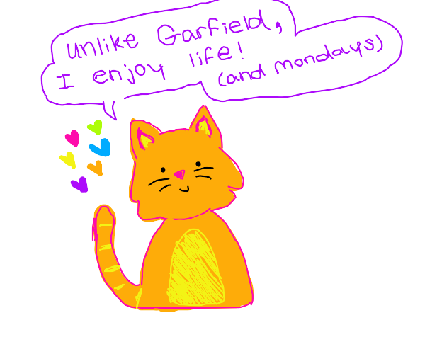 Unlike Garfield, this cat enjoys life.