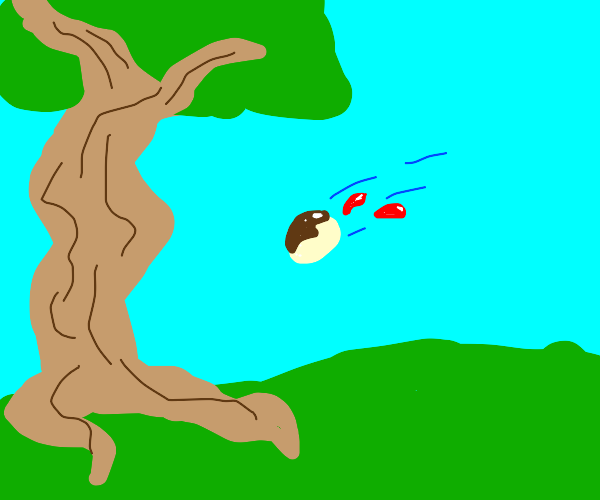 A jam doughnut being thrown at a tree