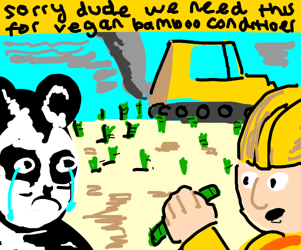Sad panda has no more food