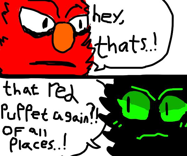 Elmo destroys the faker