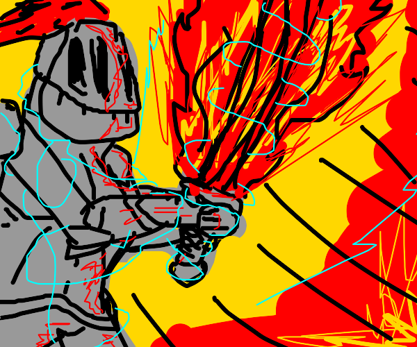 Knight with a torch and burning sword