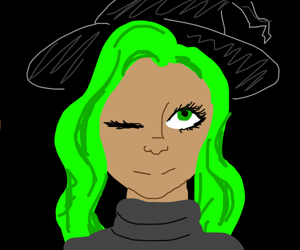 Green haired witch