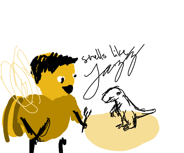 barry from bee movie prepares to eat dinosaur